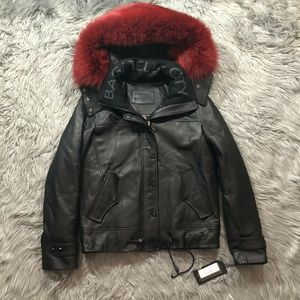Bagatelle City Aspen Leather Ski Jacket Fox Trim